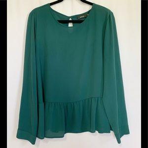 Apt 9 Long Sleeve Green Peplum Blouse Sz XL